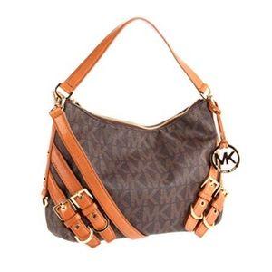 Michael Kors Milo brown leather monogram hobo bag